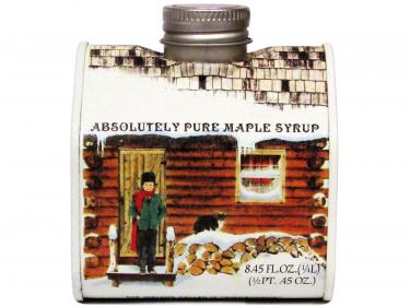 Log Cabin Tin Half Pint - 100% Pure Vermont Maple Syrup